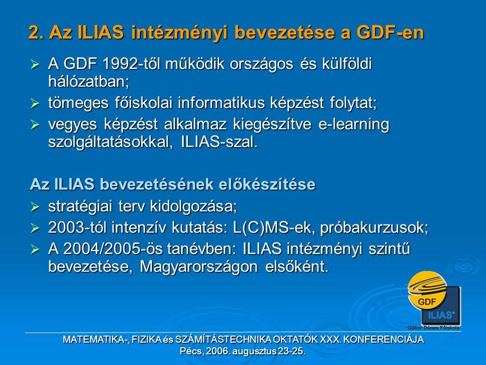 MATEMATIKA-, FIZIKA és SZÁMÍTÁSTECHNIKA OKTATÓK XXX. KONFERENCIÁJA Pécs, 2006. augusztus 23-25. 2. Az ILIAS intézményi bevezetése a GDF-en  A GDF 199