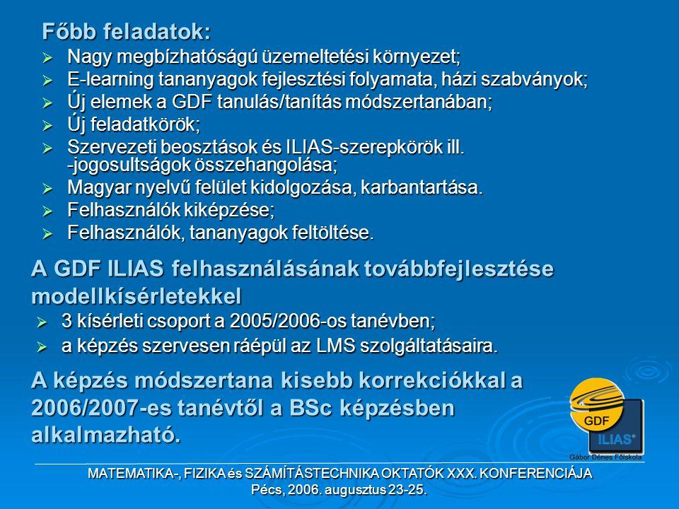 MATEMATIKA-, FIZIKA és SZÁMÍTÁSTECHNIKA OKTATÓK XXX. KONFERENCIÁJA Pécs, 2006. augusztus 23-25. Főbb feladatok:  Nagy megbízhatóságú üzemeltetési kör