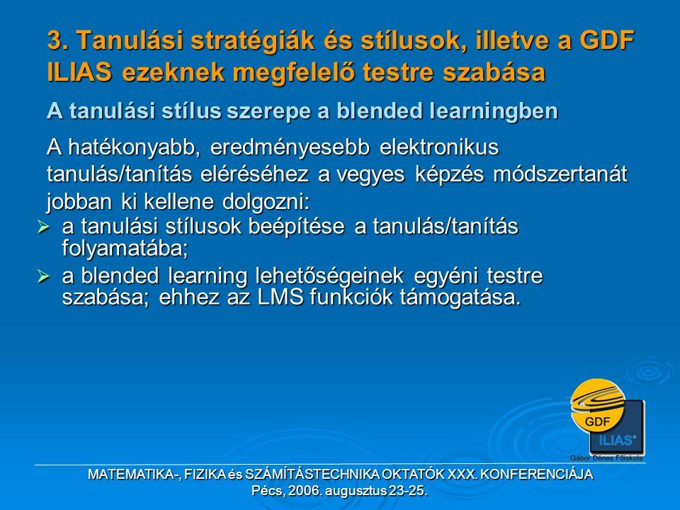 MATEMATIKA-, FIZIKA és SZÁMÍTÁSTECHNIKA OKTATÓK XXX. KONFERENCIÁJA Pécs, 2006. augusztus 23-25. 3. Tanulási stratégiák és stílusok, illetve a GDF ILIA