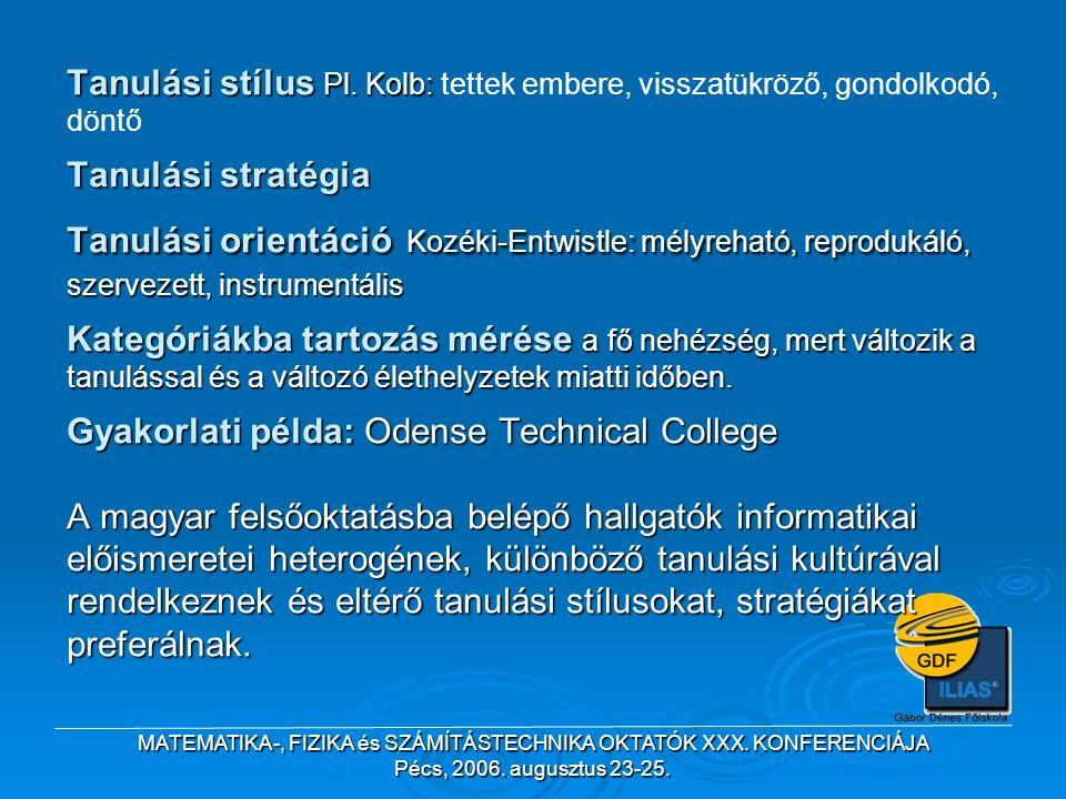 MATEMATIKA-, FIZIKA és SZÁMÍTÁSTECHNIKA OKTATÓK XXX. KONFERENCIÁJA Pécs, 2006. augusztus 23-25. Tanulási stílus Pl. Kolb: Tanulási stratégia Tanulási