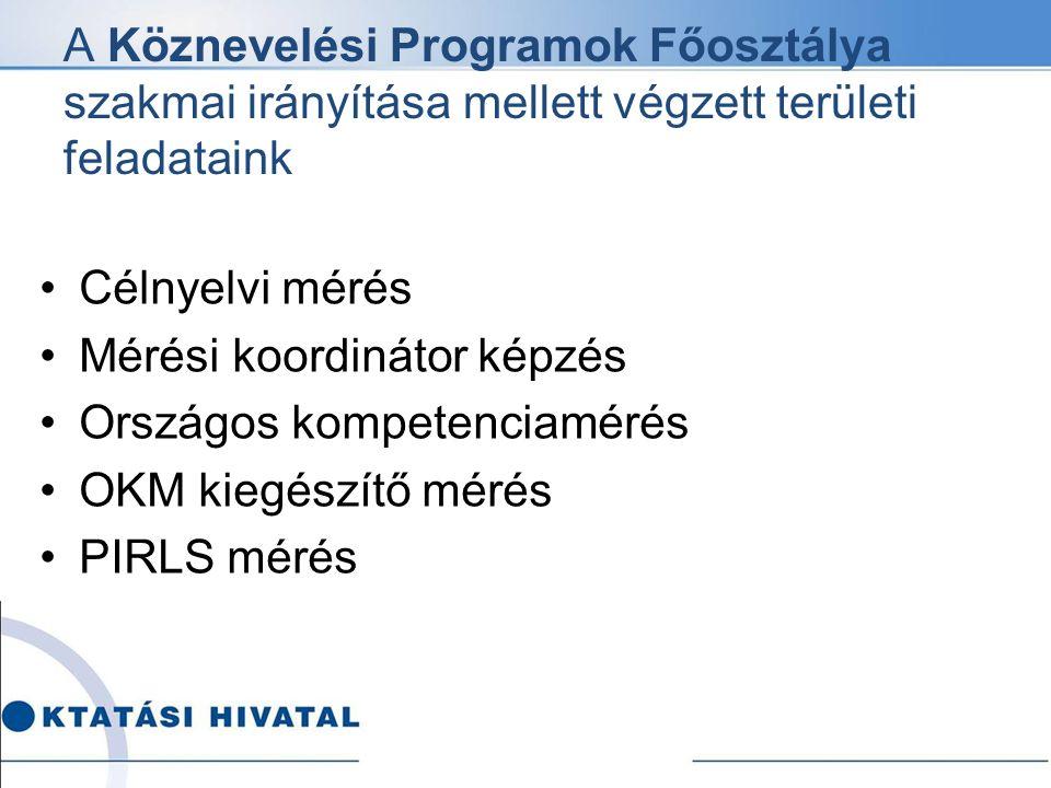 A Köznevelési Programok Főosztálya szakmai irányítása mellett végzett területi feladataink Célnyelvi mérés Mérési koordinátor képzés Országos kompeten