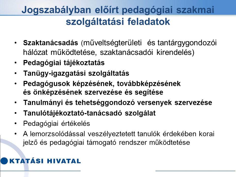 Jogszabályban előírt pedagógiai szakmai szolgáltatási feladatok Szaktanácsadás ( műveltségterületi és tantárgygondozói hálózat működtetése, szaktanács