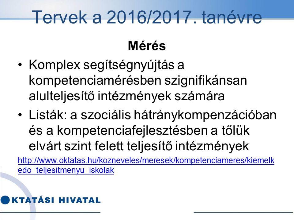 Tervek a 2016/2017. tanévre Mérés Komplex segítségnyújtás a kompetenciamérésben szignifikánsan alulteljesítő intézmények számára Listák: a szociális h