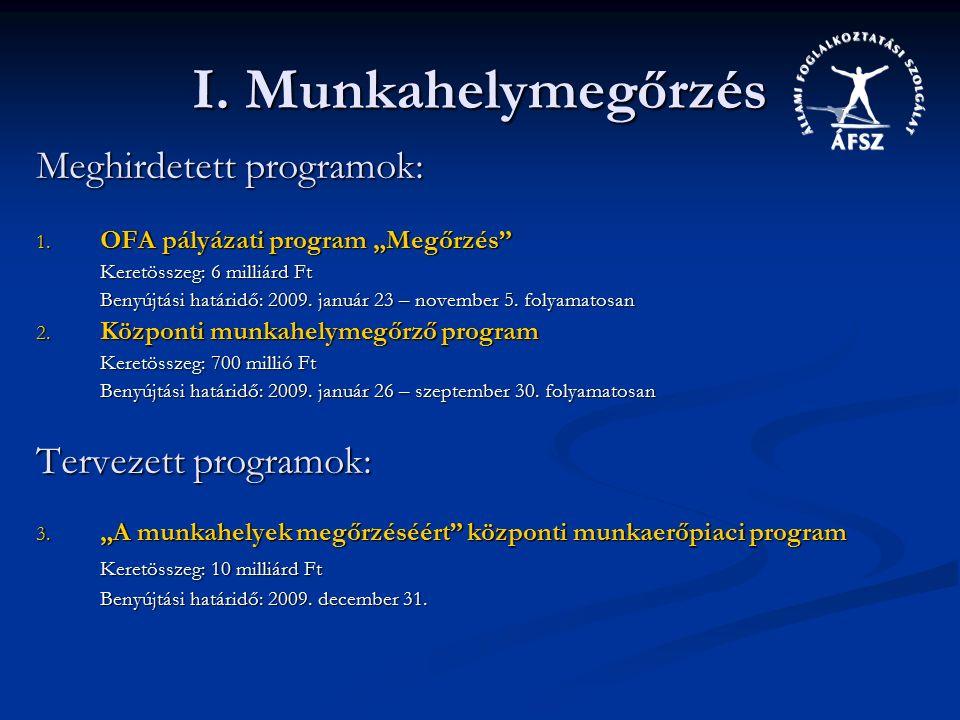 I. Munkahelymegőrzés Meghirdetett programok: 1.