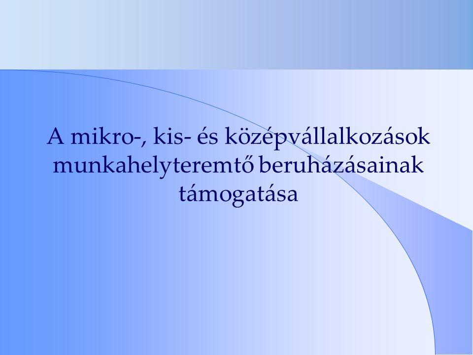 A mikro-, kis- és középvállalkozások munkahelyteremtő beruházásainak támogatása