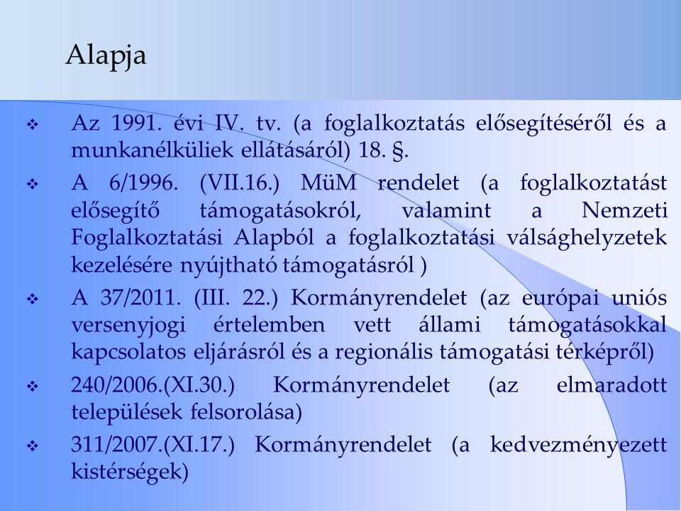 Alapja  Az 1991. évi IV. tv.