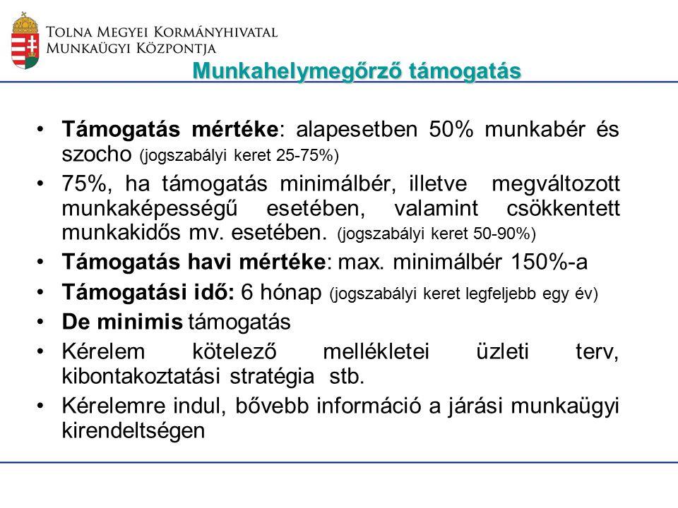 Támogatás mértéke: alapesetben 50% munkabér és szocho (jogszabályi keret 25-75%) 75%, ha támogatás minimálbér, illetve megváltozott munkaképességű esetében, valamint csökkentett munkakidős mv.