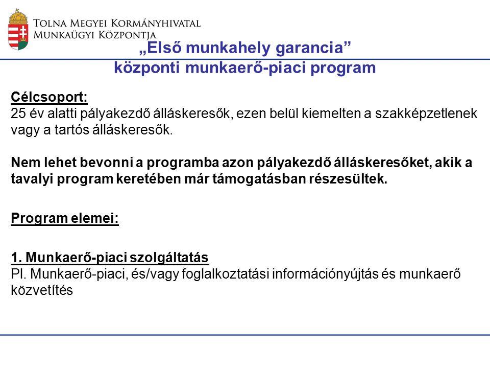 """""""Első munkahely garancia központi munkaerő-piaci program Célcsoport: 25 év alatti pályakezdő álláskeresők, ezen belül kiemelten a szakképzetlenek vagy a tartós álláskeresők."""