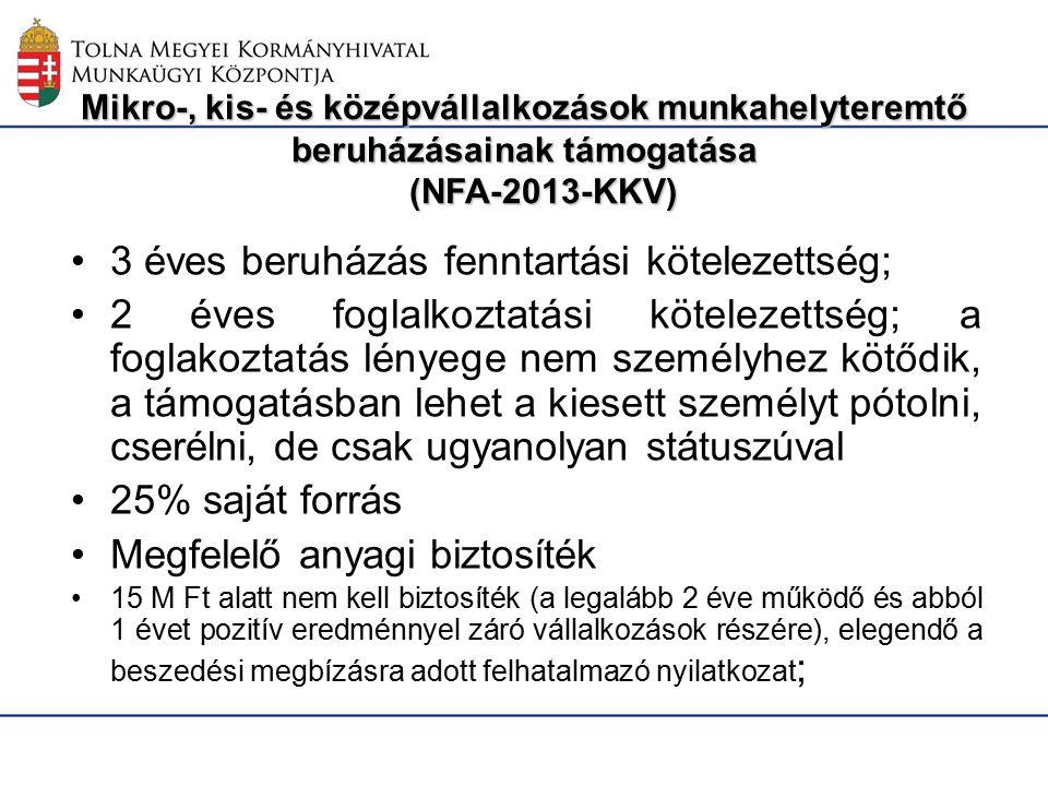 Mikro-, kis- és középvállalkozások munkahelyteremtő beruházásainak támogatása (NFA-2013-KKV) 3 éves beruházás fenntartási kötelezettség; 2 éves foglalkoztatási kötelezettség; a foglakoztatás lényege nem személyhez kötődik, a támogatásban lehet a kiesett személyt pótolni, cserélni, de csak ugyanolyan státuszúval 25% saját forrás Megfelelő anyagi biztosíték 15 M Ft alatt nem kell biztosíték (a legalább 2 éve működő és abból 1 évet pozitív eredménnyel záró vállalkozások részére), elegendő a beszedési megbízásra adott felhatalmazó nyilatkozat ;