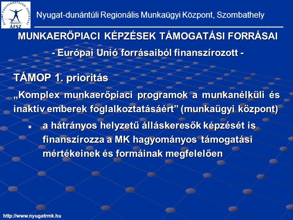 MUNKAERŐPIACI KÉPZÉSEK TÁMOGATÁSI FORRÁSAI - Európai Unió forrásaiból finanszírozott - Nyugat-dunántúli Regionális Munkaügyi Központ, Szombathely http://www.nyugatrmk.hu TÁMOP 1.