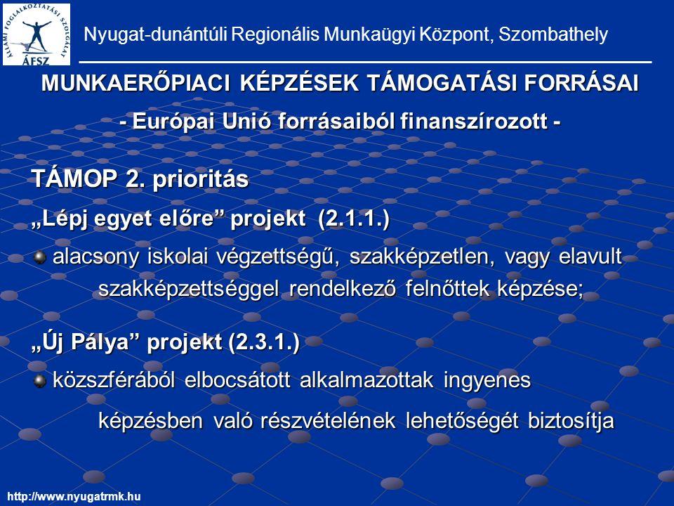 MUNKAERŐPIACI KÉPZÉSEK TÁMOGATÁSI FORRÁSAI - Európai Unió forrásaiból finanszírozott - Nyugat-dunántúli Regionális Munkaügyi Központ, Szombathely http://www.nyugatrmk.hu TÁMOP 2.