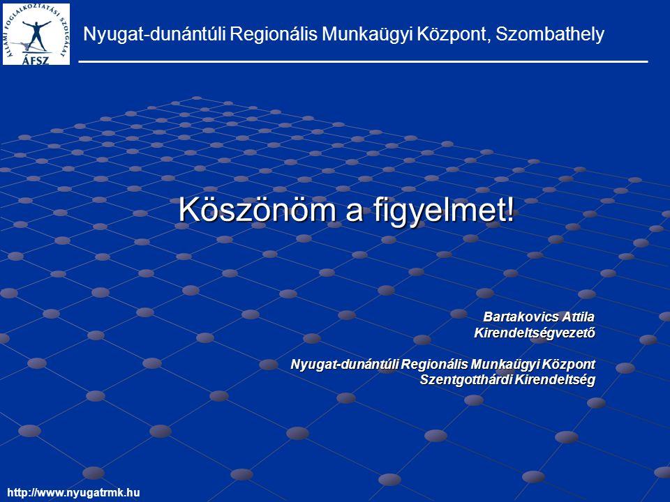 Nyugat-dunántúli Regionális Munkaügyi Központ, Szombathely http://www.nyugatrmk.hu Köszönöm a figyelmet.
