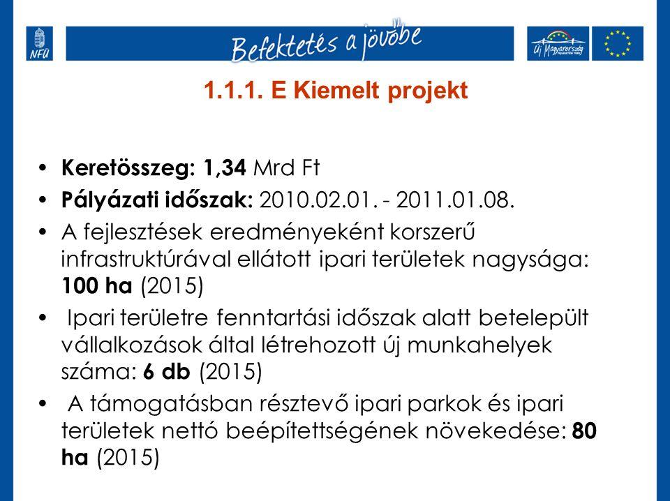 1.1.1. E Kiemelt projekt Keretösszeg: 1,34 Mrd Ft Pályázati időszak: 2010.02.01. - 2011.01.08. A fejlesztések eredményeként korszerű infrastruktúrával