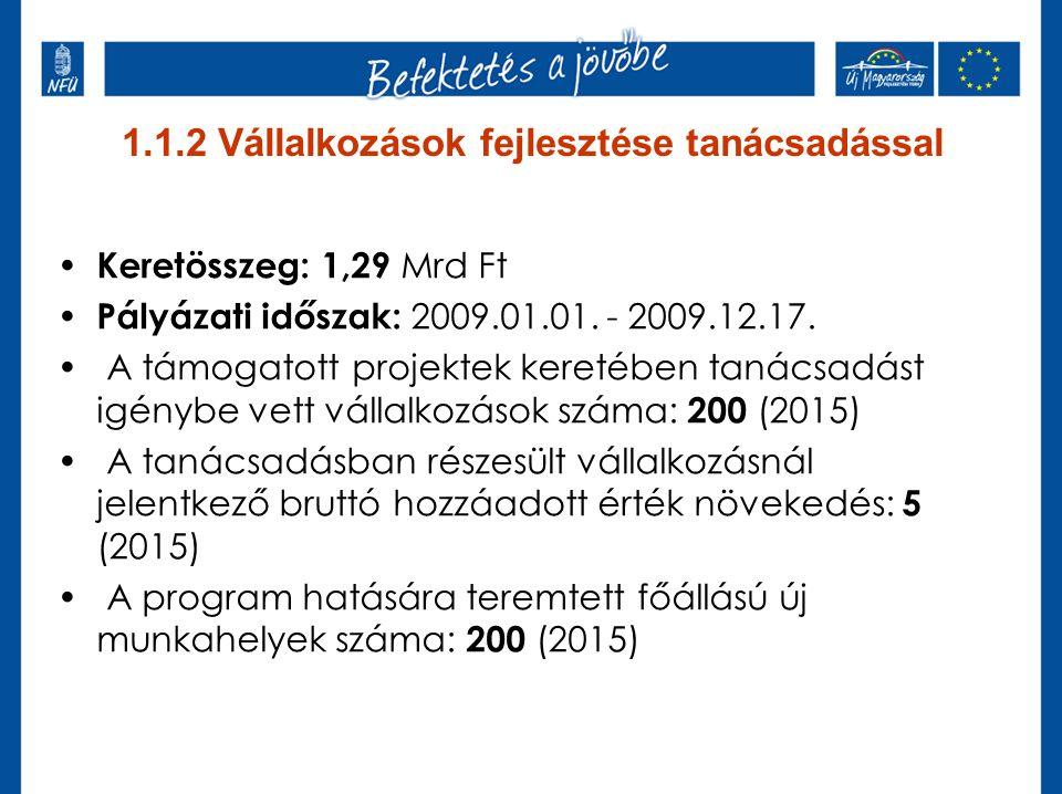 1.1.2 Vállalkozások fejlesztése tanácsadással Keretösszeg: 1,29 Mrd Ft Pályázati időszak: 2009.01.01. - 2009.12.17. A támogatott projektek keretében t