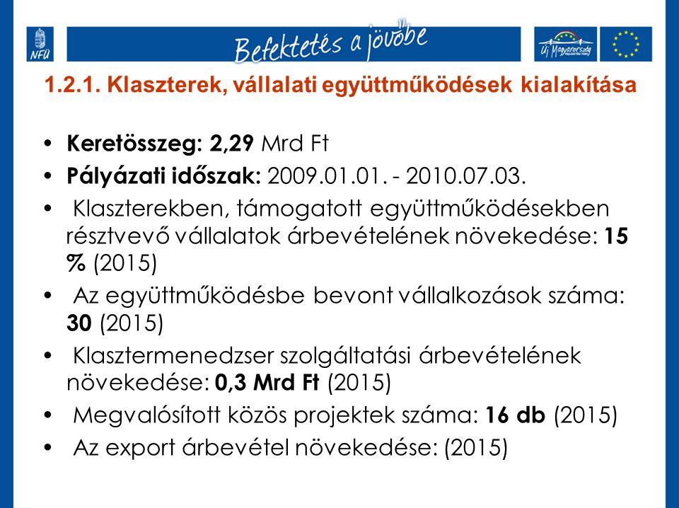 1.2.1. Klaszterek, vállalati együttműködések kialakítása Keretösszeg: 2,29 Mrd Ft Pályázati időszak: 2009.01.01. - 2010.07.03. Klaszterekben, támogato