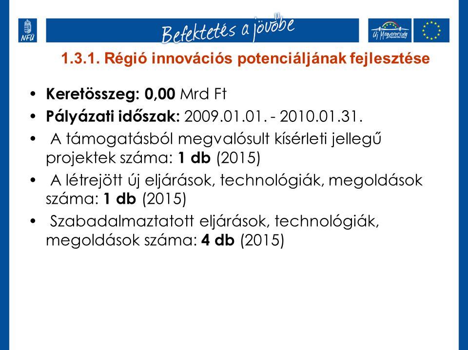 1.3.1. Régió innovációs potenciáljának fejlesztése Keretösszeg: 0,00 Mrd Ft Pályázati időszak: 2009.01.01. - 2010.01.31. A támogatásból megvalósult kí