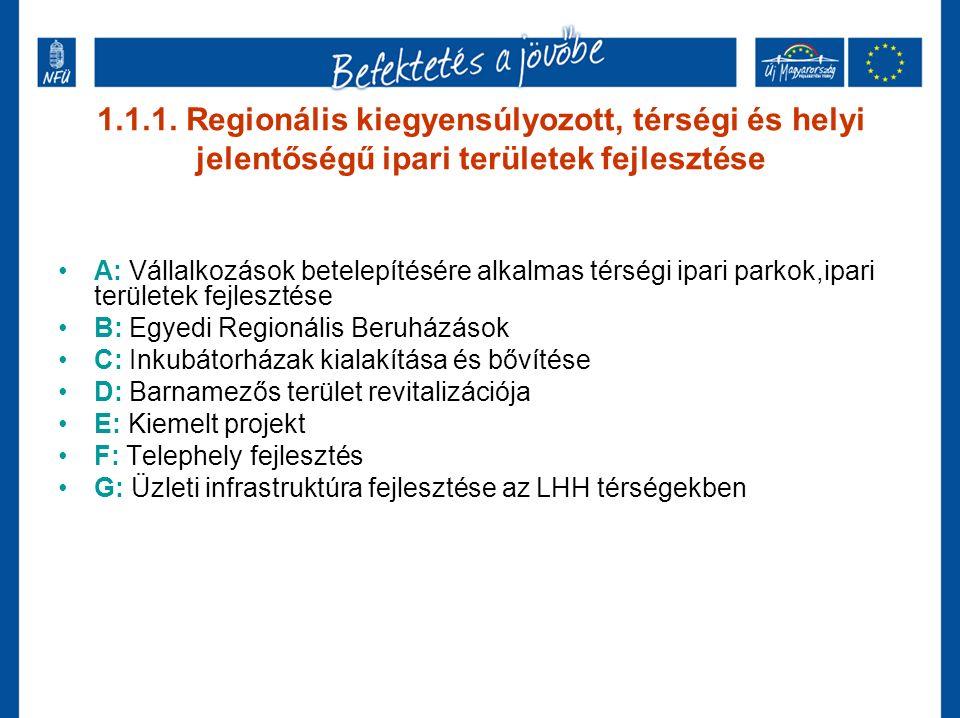 1.1.1.A Vállalkozások betelepítésére alkalmas térségi ipari parkok fejlesztése Keretösszeg: 4,54 Mrd Ft Pályázati időszak: 2009.06.01.