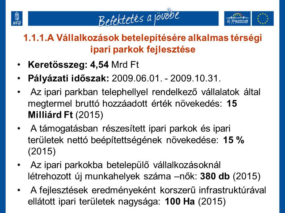 1.1.1.A Vállalkozások betelepítésére alkalmas térségi ipari parkok fejlesztése Keretösszeg: 4,54 Mrd Ft Pályázati időszak: 2009.06.01. - 2009.10.31. A