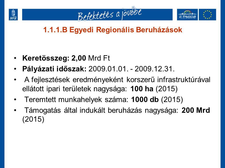 1.1.1.B Egyedi Regionális Beruházások Keretösszeg: 2,00 Mrd Ft Pályázati időszak: 2009.01.01. - 2009.12.31. A fejlesztések eredményeként korszerű infr
