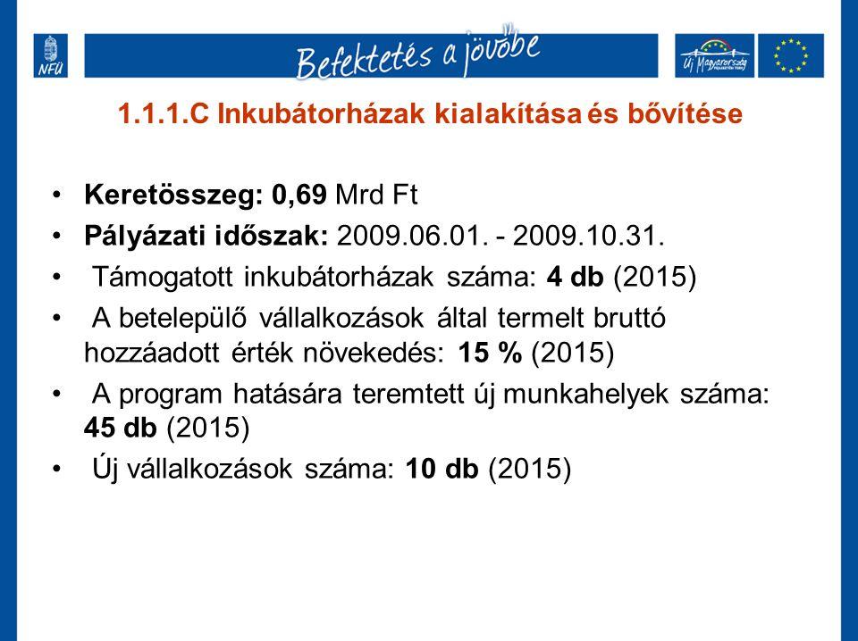 1.1.1.C Inkubátorházak kialakítása és bővítése Keretösszeg: 0,69 Mrd Ft Pályázati időszak: 2009.06.01. - 2009.10.31. Támogatott inkubátorházak száma: