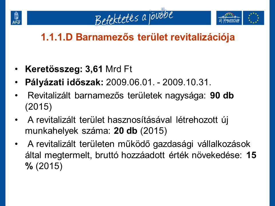 1.1.1.D Barnamezős terület revitalizációja Keretösszeg: 3,61 Mrd Ft Pályázati időszak: 2009.06.01. - 2009.10.31. Revitalizált barnamezős területek nag