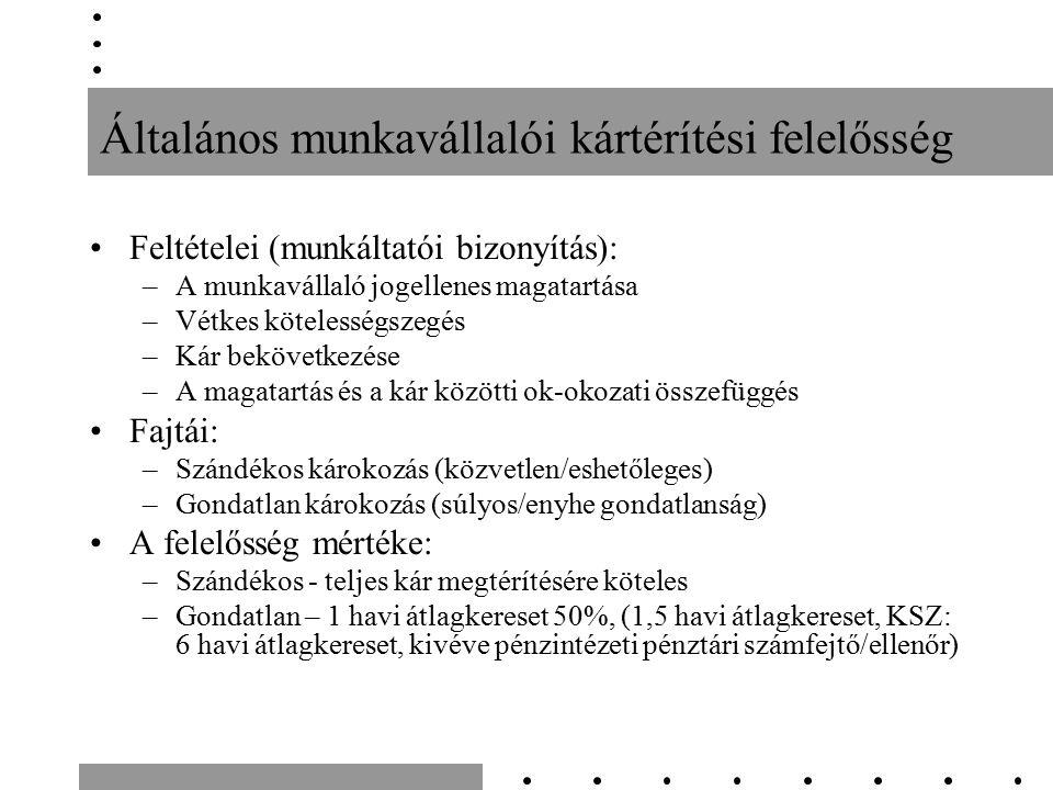 Általános munkavállalói kártérítési felelősség Feltételei (munkáltatói bizonyítás): –A munkavállaló jogellenes magatartása –Vétkes kötelességszegés –Kár bekövetkezése –A magatartás és a kár közötti ok-okozati összefüggés Fajtái: –Szándékos károkozás (közvetlen/eshetőleges) –Gondatlan károkozás (súlyos/enyhe gondatlanság) A felelősség mértéke: –Szándékos - teljes kár megtérítésére köteles –Gondatlan – 1 havi átlagkereset 50%, (1,5 havi átlagkereset, KSZ: 6 havi átlagkereset, kivéve pénzintézeti pénztári számfejtő/ellenőr)