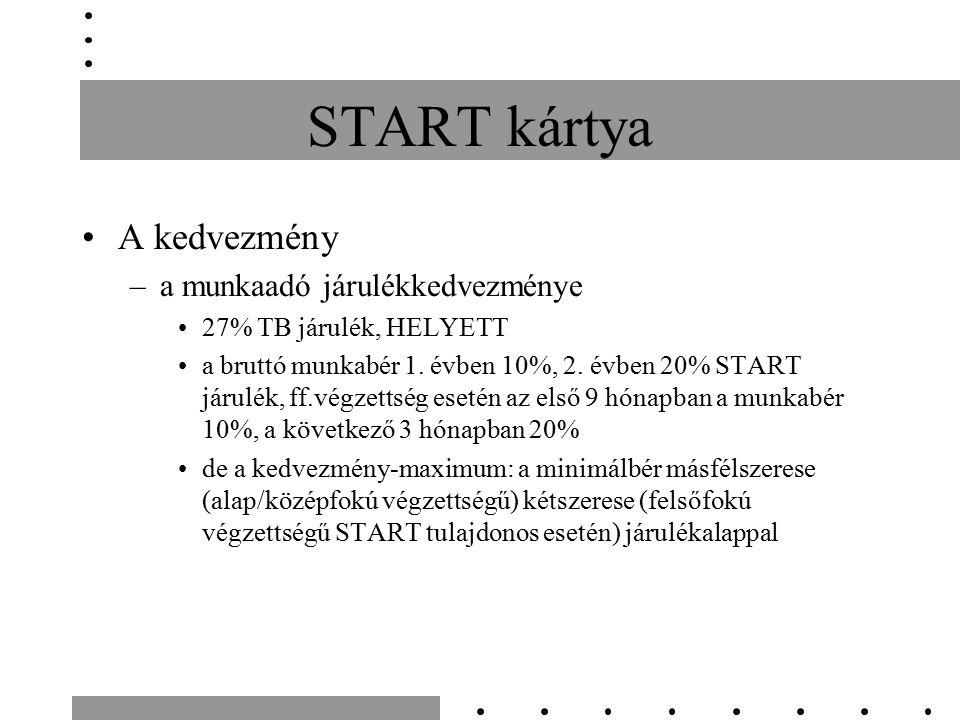 START kártya A kedvezmény –a munkaadó járulékkedvezménye 27% TB járulék, HELYETT a bruttó munkabér 1.