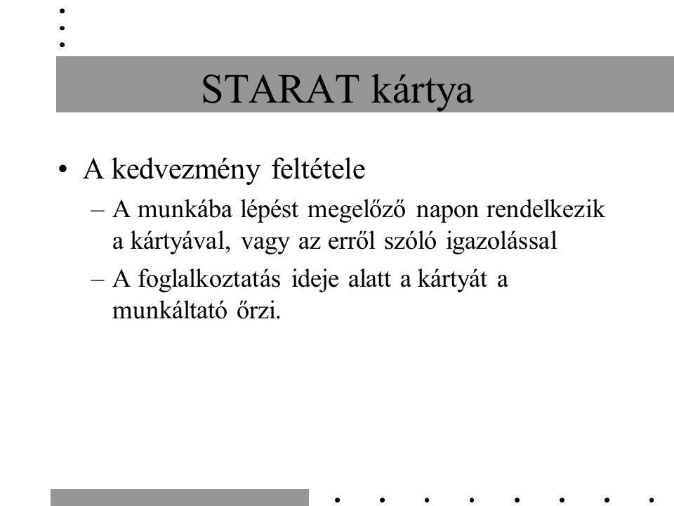 STARAT kártya A kedvezmény feltétele –A munkába lépést megelőző napon rendelkezik a kártyával, vagy az erről szóló igazolással –A foglalkoztatás ideje alatt a kártyát a munkáltató őrzi.