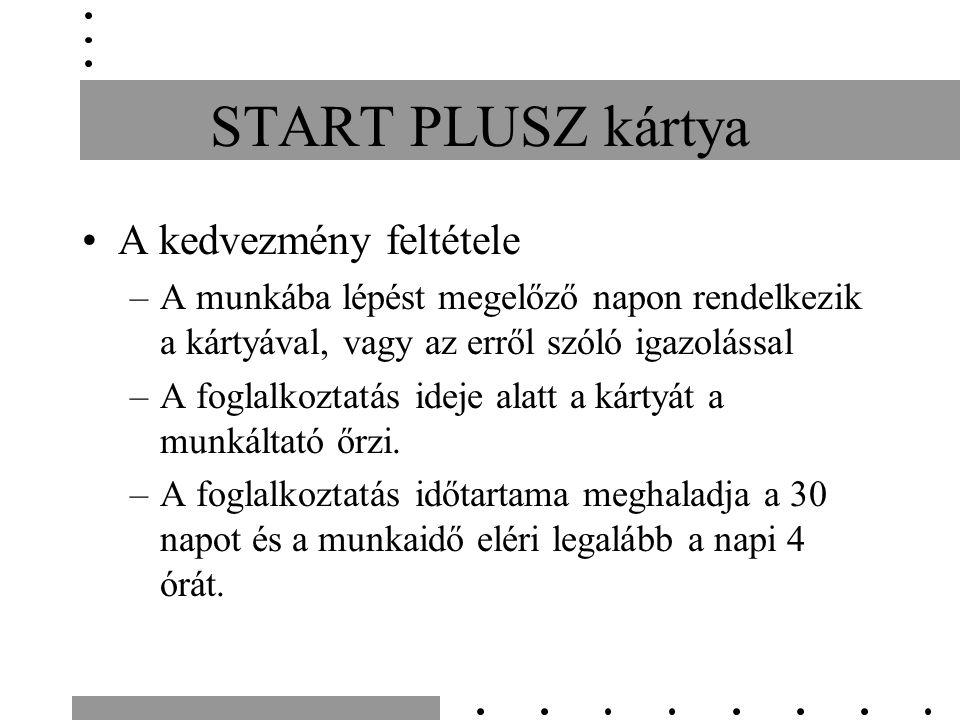 START PLUSZ kártya A kedvezmény feltétele –A munkába lépést megelőző napon rendelkezik a kártyával, vagy az erről szóló igazolással –A foglalkoztatás ideje alatt a kártyát a munkáltató őrzi.
