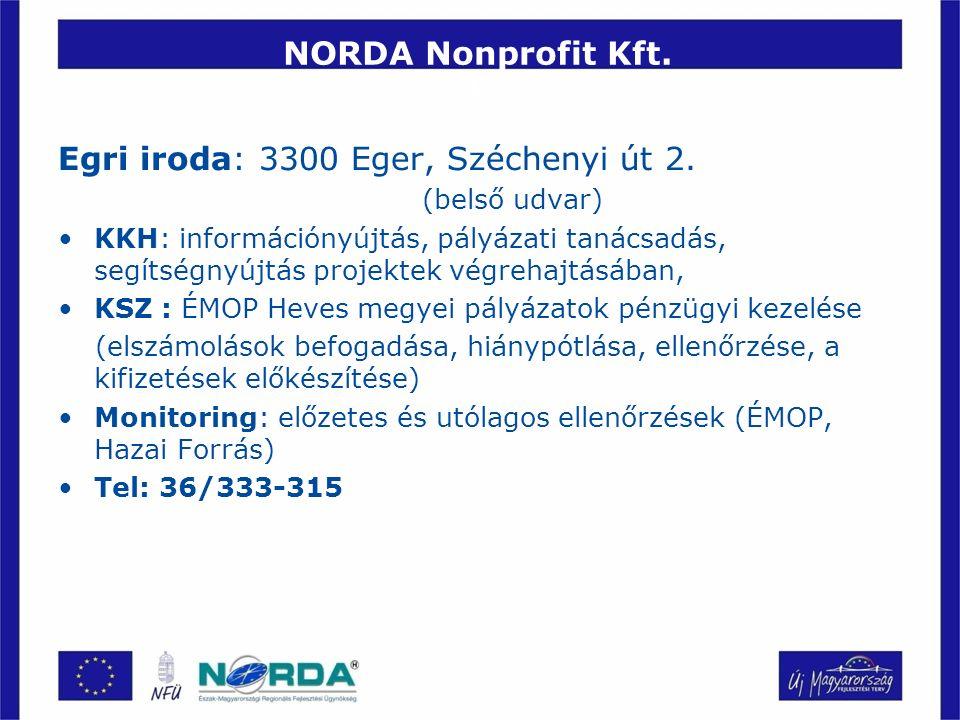NORDA Nonprofit Kft. É Egri iroda: 3300 Eger, Széchenyi út 2. (belső udvar) KKH: információnyújtás, pályázati tanácsadás, segítségnyújtás projektek vé