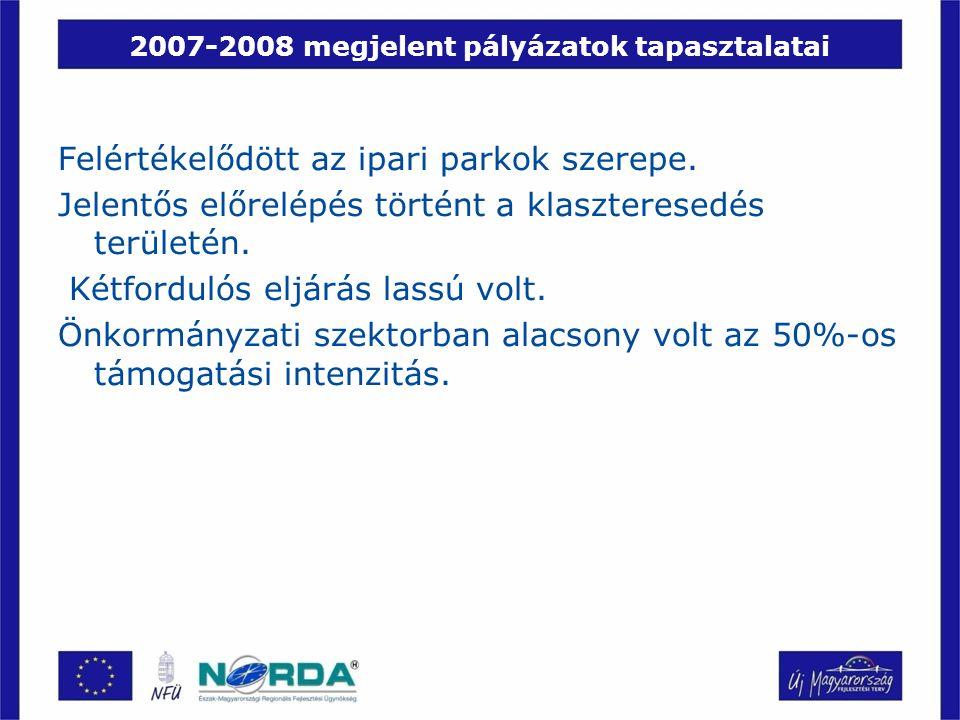 2007-2008 megjelent pályázatok tapasztalatai Felértékelődött az ipari parkok szerepe. Jelentős előrelépés történt a klaszteresedés területén. Kétfordu