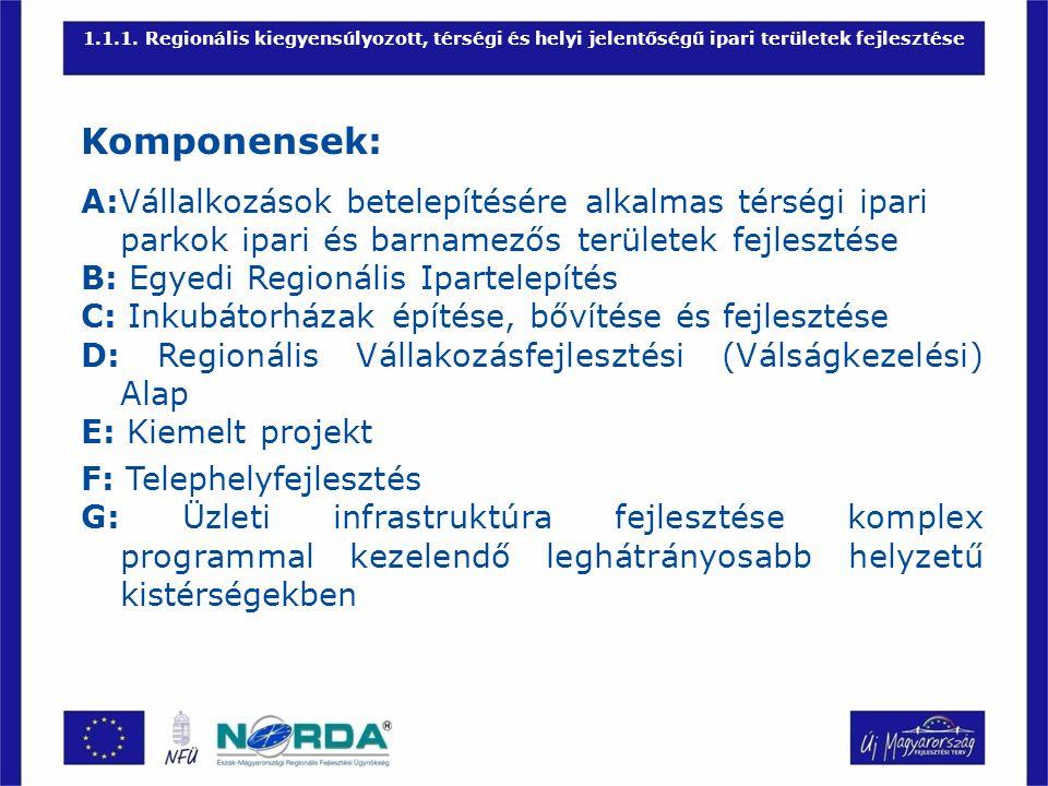 1.1.1. Regionális kiegyensúlyozott, térségi és helyi jelentőségű ipari területek fejlesztése Komponensek: A:Vállalkozások betelepítésére alkalmas térs