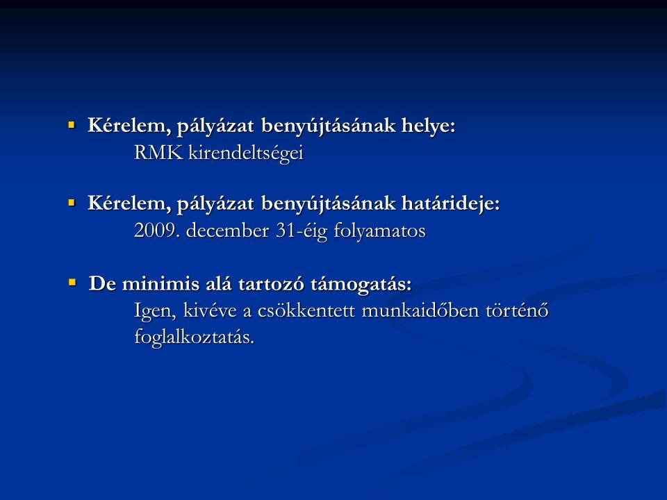  Kérelem, pályázat benyújtásának helye: RMK kirendeltségei  Kérelem, pályázat benyújtásának határideje: 2009. december 31-éig folyamatos  De minimi