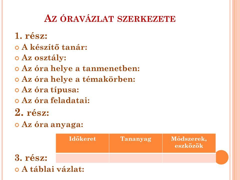 A Z ÓRAVÁZLAT SZERKEZETE 1.