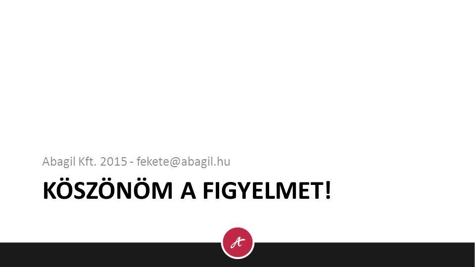 KÖSZÖNÖM A FIGYELMET! Abagil Kft. 2015 - fekete@abagil.hu