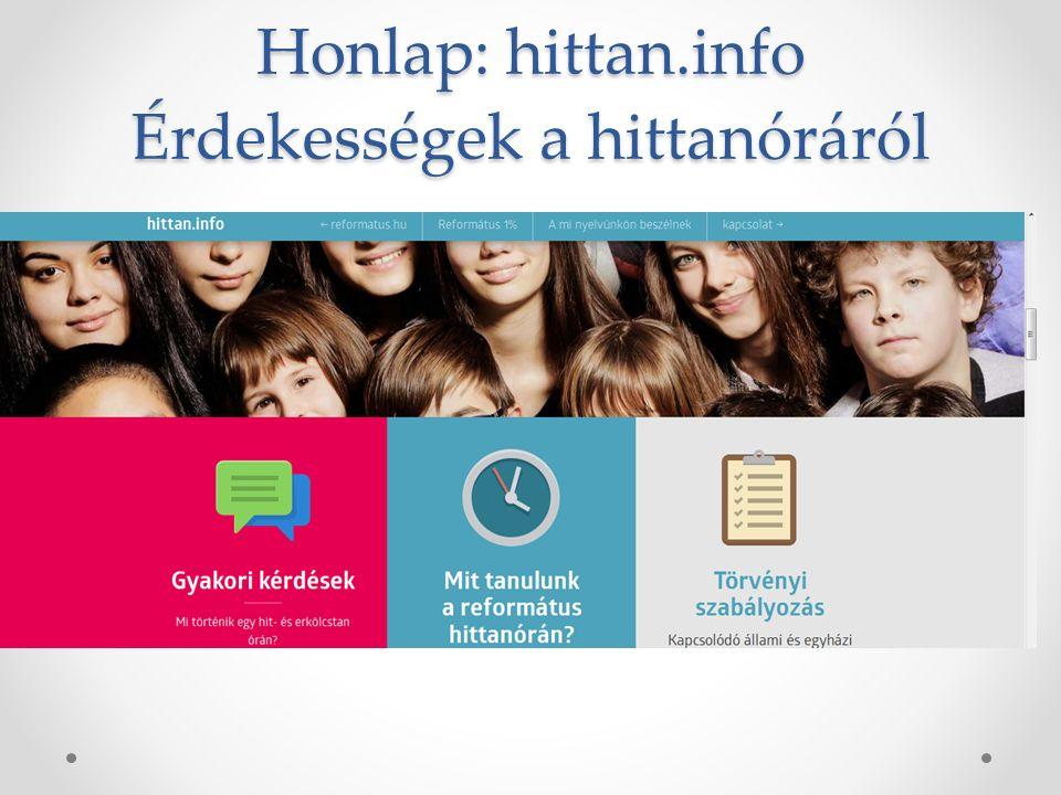 Honlap: hittan.info Érdekességek a hittanóráról