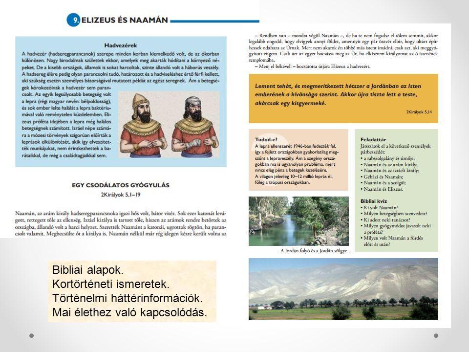 Bibliai alapok. Kortörténeti ismeretek. Történelmi háttérinformációk. Mai élethez való kapcsolódás.