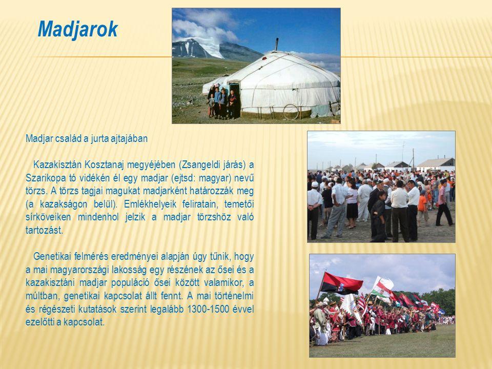 Madjarok Madjar család a jurta ajtajában Kazakisztán Kosztanaj megyéjében (Zsangeldi járás) a Szarikopa tó vidékén él egy madjar (ejtsd: magyar) nevű törzs.