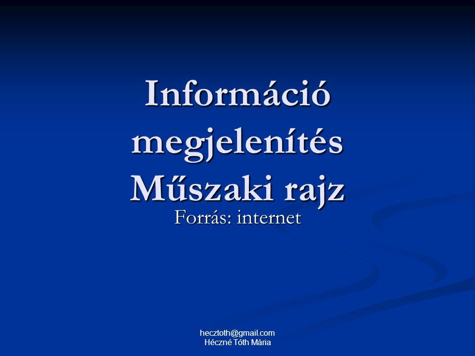 Információ megjelenítés Műszaki rajz Forrás: internet hecztoth@gmail.com Héczné Tóth Mária