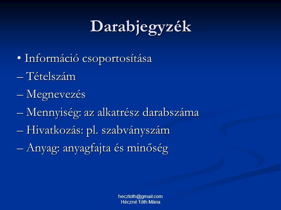Darabjegyzék Információ csoportosítása Információ csoportosítása – Tételszám – Megnevezés – Mennyiség: az alkatrész darabszáma – Hivatkozás: pl. szabv