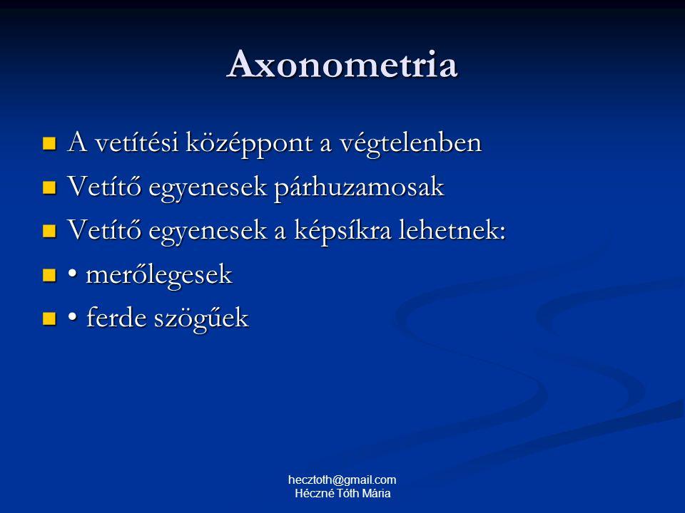 Axonometria A vetítési középpont a végtelenben A vetítési középpont a végtelenben Vetítő egyenesek párhuzamosak Vetítő egyenesek párhuzamosak Vetítő e