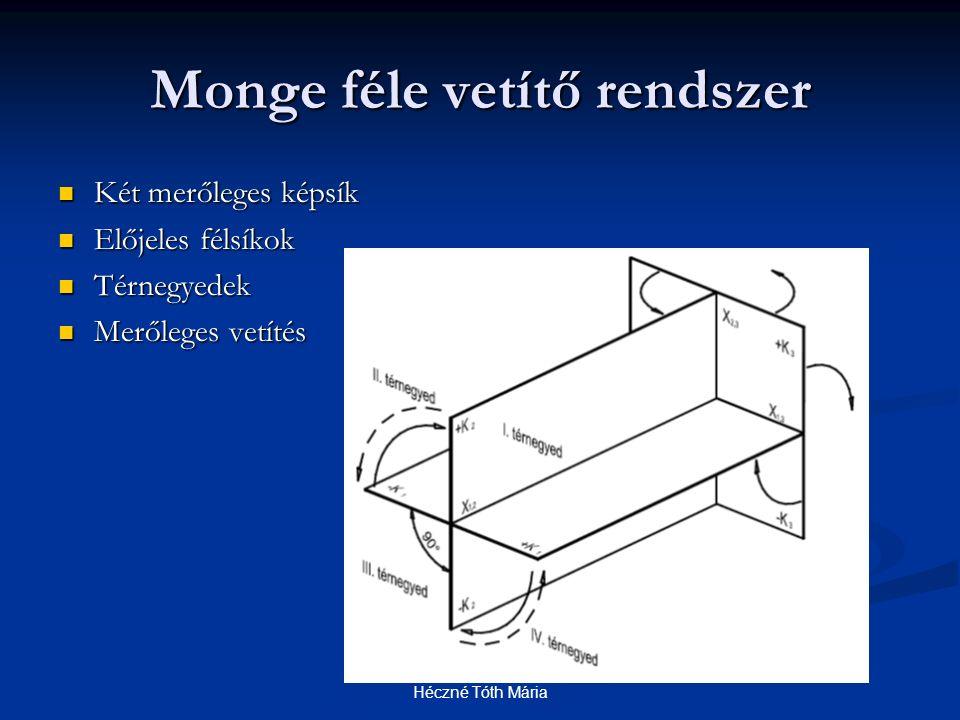 Monge féle vetítő rendszer Két merőleges képsík Két merőleges képsík Előjeles félsíkok Előjeles félsíkok Térnegyedek Térnegyedek Merőleges vetítés Mer