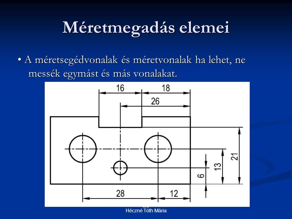 Méretmegadás elemei A méretsegédvonalak és méretvonalak ha lehet, ne messék egymást és más vonalakat. A méretsegédvonalak és méretvonalak ha lehet, ne