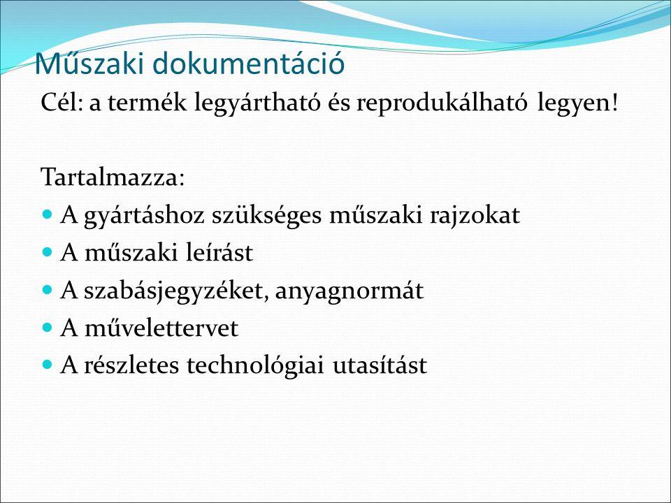 Műszaki dokumentáció Cél: a termék legyártható és reprodukálható legyen.