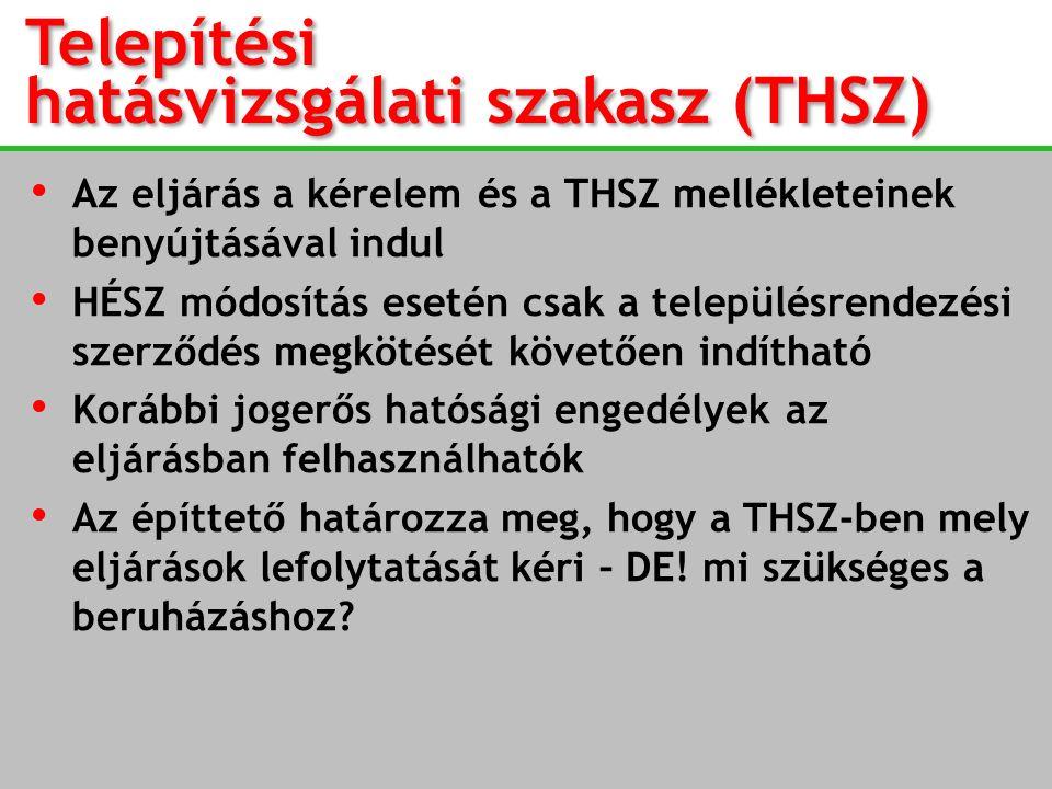 Telepítési hatásvizsgálati szakasz (THSZ) Az eljárás a kérelem és a THSZ mellékleteinek benyújtásával indul HÉSZ módosítás esetén csak a településrend