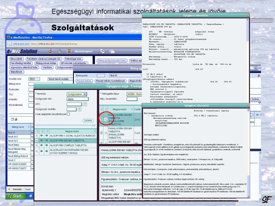 Egészségügyi informatikai szolgáltatások jelene és jövője Szolgáltatások