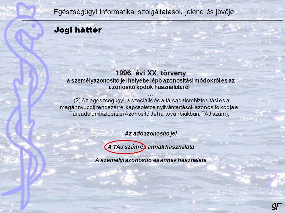 1996. évi XX. törvény a személyazonosító jel helyébe lépő azonosítási módokról és az azonosító kódok használatáról … (2) Az egészségügyi, a szociális