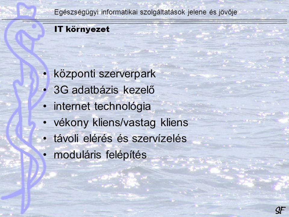 IT környezet IBM pSeries 650 Egészségügyi informatikai szolgáltatások jelene és jövője