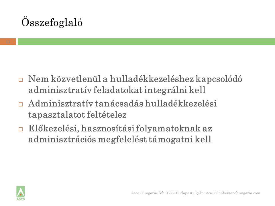 Összefoglaló 11  Nem közvetlenül a hulladékkezeléshez kapcsolódó adminisztratív feladatokat integrálni kell  Adminisztratív tanácsadás hulladékkezelési tapasztalatot feltételez  Előkezelési, hasznosítási folyamatoknak az adminisztrációs megfelelést támogatni kell Asco Hungaria Kft.