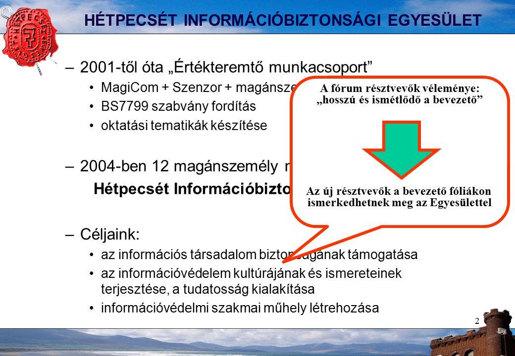 """2 HÉTPECSÉT INFORMÁCIÓBIZTONSÁGI EGYESÜLET –2001-től óta """"Értékteremtő munkacsoport MagiCom + Szenzor + magánszemélyek BS7799 szabvány fordítás oktatási tematikák készítése –2004-ben 12 magánszemély megalakítja a Hétpecsét Információbiztonsági Egyesületet –Céljaink: az információs társadalom biztonságának támogatása az információvédelem kultúrájának és ismereteinek terjesztése, a tudatosság kialakítása információvédelmi szakmai műhely létrehozása A fórum résztvevők véleménye: """"hosszú és ismétlődő a bevezető Az új résztvevők a bevezető fóliákon ismerkedhetnek meg az Egyesülettel"""